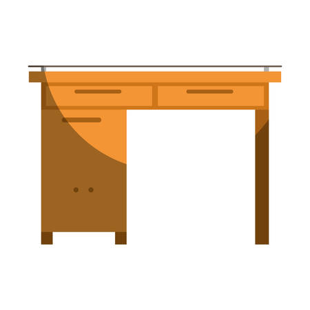 confortable: Colorful graphic of wooden home desk without contour and half shadow vector illustration Illustration