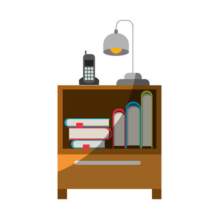 Colorful graphic of nightstand with cordless phone and lamp and books stacking without contour and half shadow vector illustration