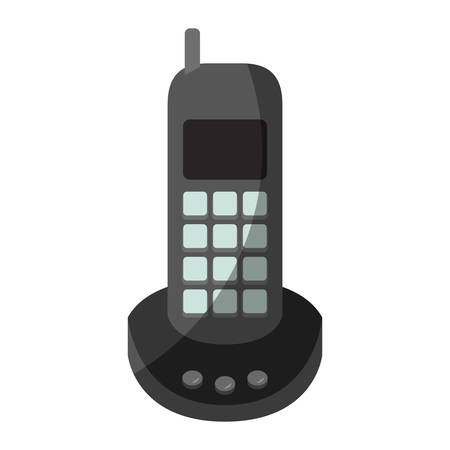 Colorful graphic of cordless phone without contour and half shadow vector illustration. Ilustrace