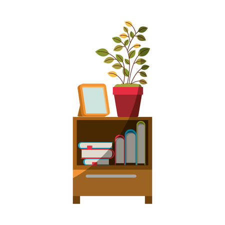 Colorful graphic of decorative cabinet table with books and plantpot without contour and half shadow vector illustration.