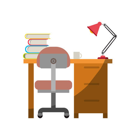 Colorful graphic of desk home with chair and books and lamp without contour and half shadow vector illustration.