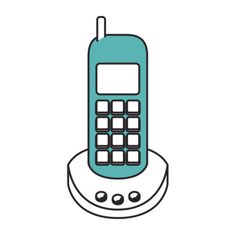 caller: Silhouette color sections of cordless phone vector illustration. Illustration