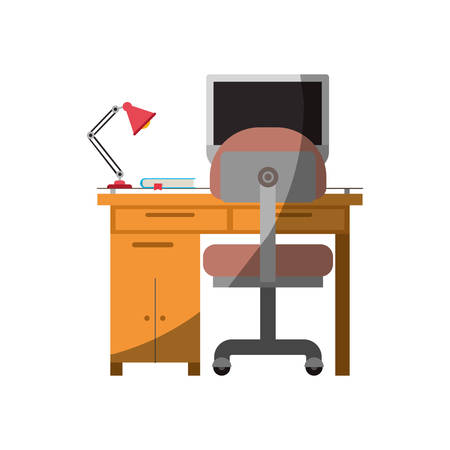 Colorful graphic of desk home with chair and lamp and desktop computer without contour and half shadow vector illustration