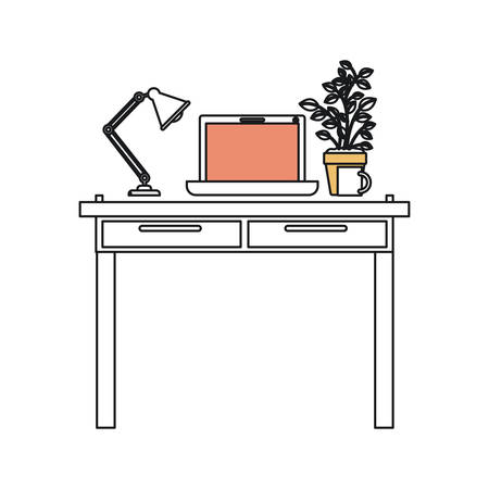 confortable: silhouette color sections of work place office interior with laptop computer and lamp and plantpot vector illustration