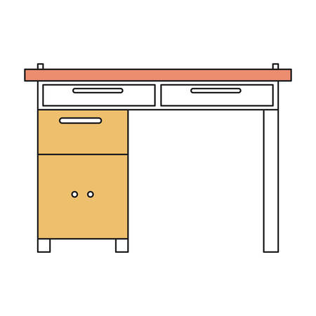 confortable: silhouette color sections of wooden home desk vector illustration