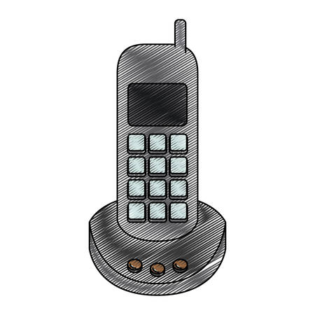 caller: color crayon stripe silhouette of cordless phone vector illustration