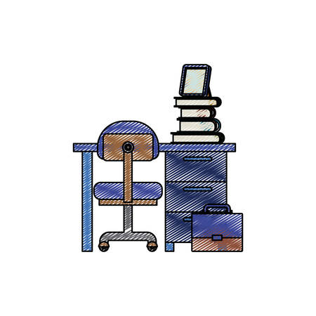 color crayon stripe silhouette of desk home with chair and books vector illustration