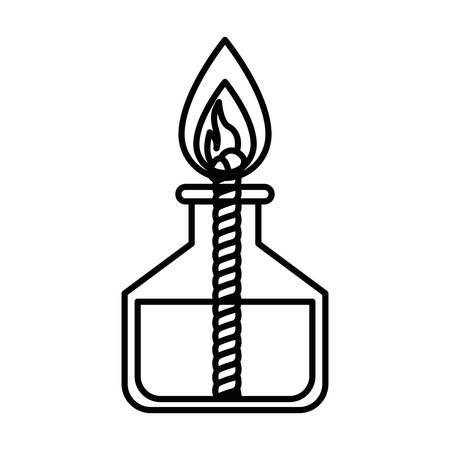 sketch silhouette image laboratory lighter with rope and flame vector illustration