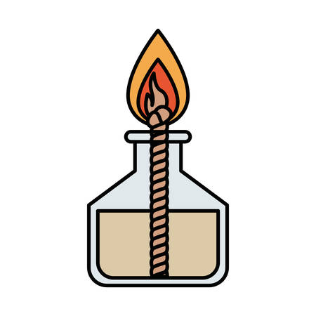 Colorful silhouette image laboratory lighter with rope and flame vector illustration Illustration