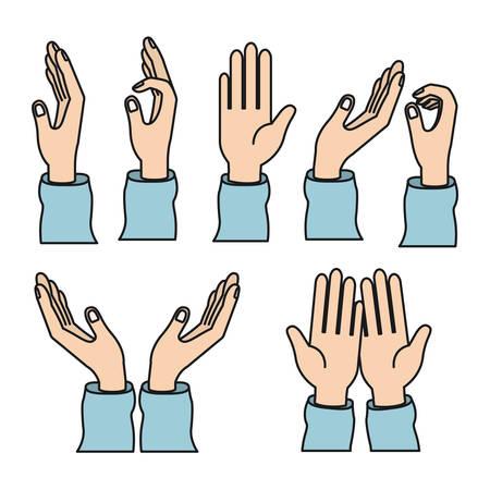 Color image set hands charity share love symbols vector illustration Illustration