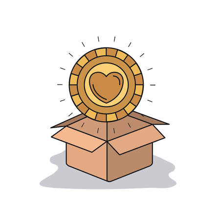 color image background golden coin with heart shape inside coming out of cardboard box vector illustration