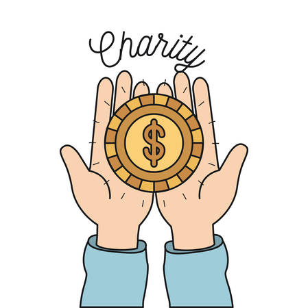 Hands holding a golden coin charity symbol vector illustration