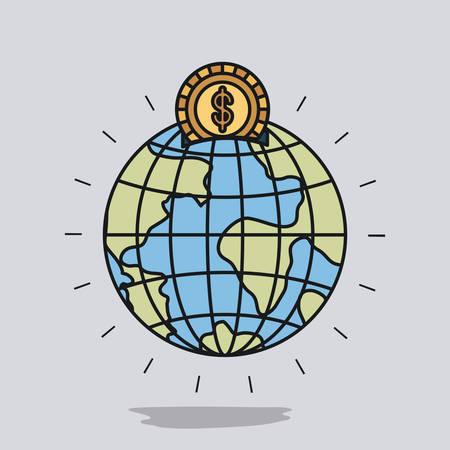 Globe world shape with golden coin vector illustration Illustration