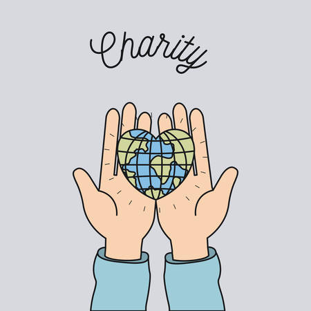Hands holding an earth in heart shape charity symbol vector illustration