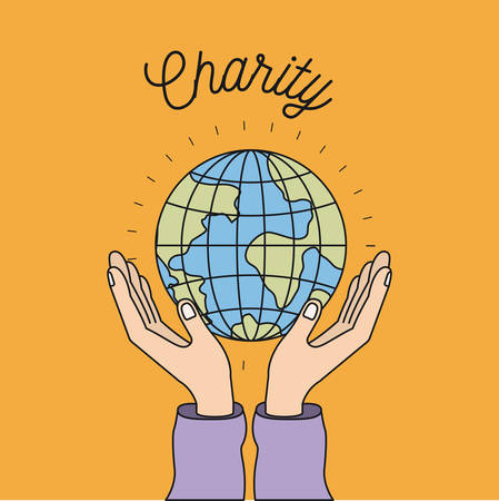 Hands with floating earth charity symbol vector illustration Illustration
