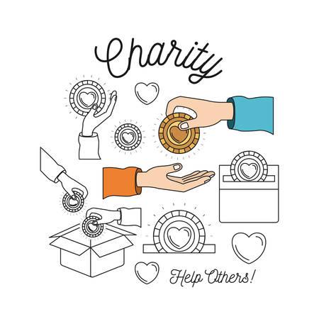 Conjunto de la imagen de la silueta del color ayuda de la caridad a otros y las manos depositando la moneda de oro en la palma ilustración vectorial