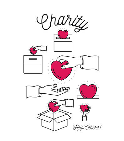 philanthropist: color silhouette image set charity help others and hands depositing heart shape in palm and in cardboard box vector illustration