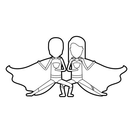 comic duo: black silhouette of faceless duo of superheroes in defensive pose and her with straight long hair vector illustration