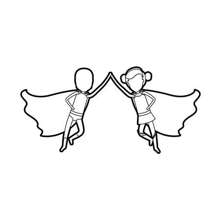 comic duo: black silhouette of faceless duo of superheroes flying united of the hands and her with collected hair vector illustration Illustration