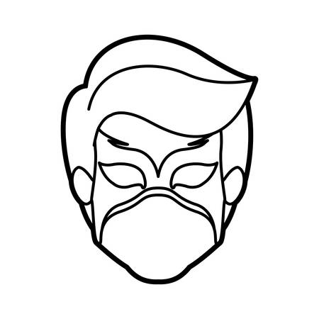 hair mask: monochrome thick contour head of faceless boy superhero with mask vector illustration