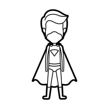 monochrome thick contour of standing faceless male superhero and masked vector illustration Illustration