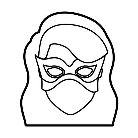 superheroine: monochrome thick contour head of faceless girl superhero with long wavy hair with fringe and mask vector illustration