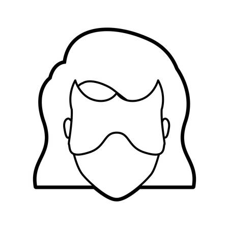 superheroine: monochrome thick contour head of faceless woman superhero with short hair and mask vector illustration