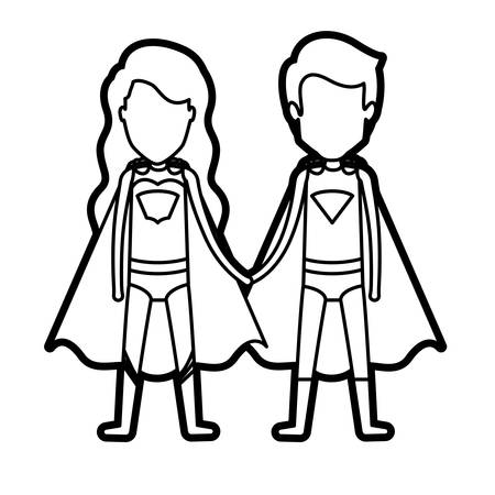 super man: monochrome thick contour of faceless couple of superheroes united of the hands and her with long wavy hair vector illustration