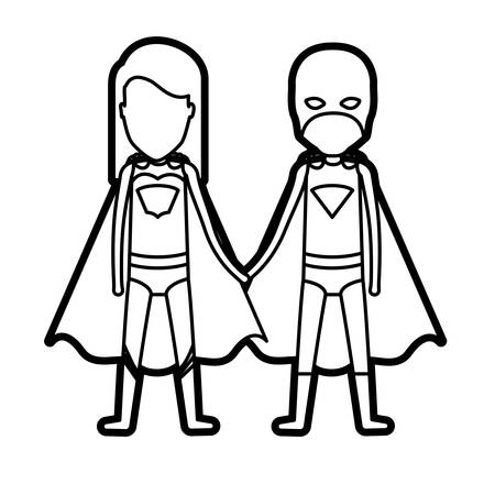 comic duo: monochrome thick contour of faceless duo superheroes united of the hands and her with straight long hair vector illustration