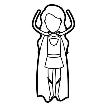 superheroine: monochrome thick contour of standing faceless superhero woman flying with the arms up vector illustration