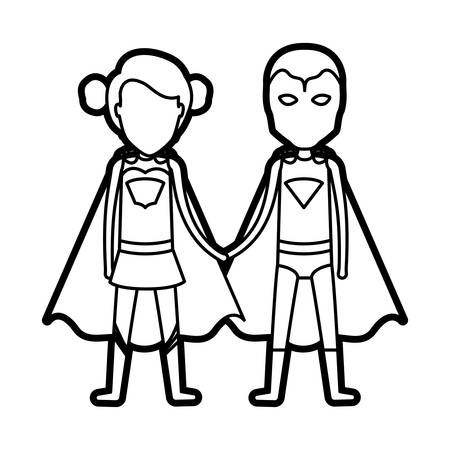 monochrome thick contour of faceless duo of superheroes united of the hands and her with collected hair vector illustration