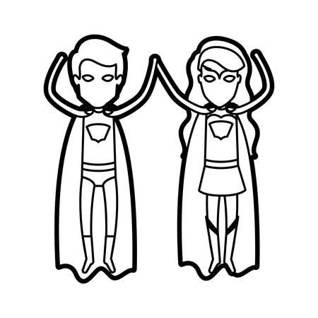 super man: monochrome thick contour of faceless couple of superheroes flying vertically vector illustration
