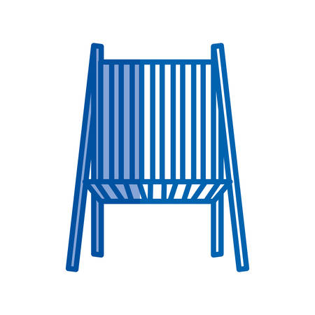 blue shading silhouette of beach chair front view vector illustration Illustration