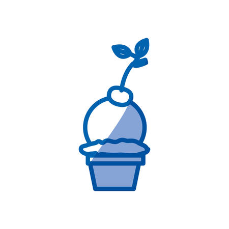 blue shading silhouette of ball ice cream in cup with cherry vector illustration