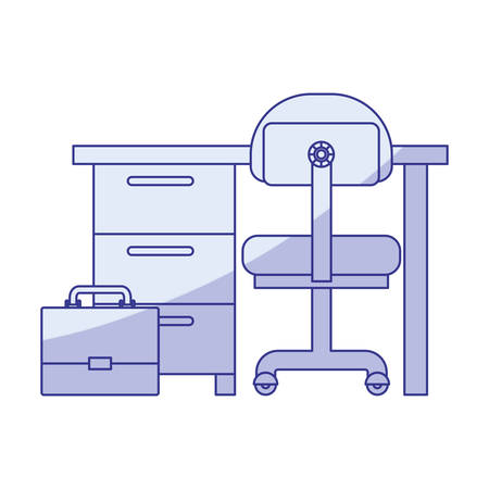 confortable: blue shading silhouette of work place office interior and portfolio vector illustration Illustration