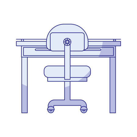 confortable: blue shading silhouette of closeup work place office interior vector illustration