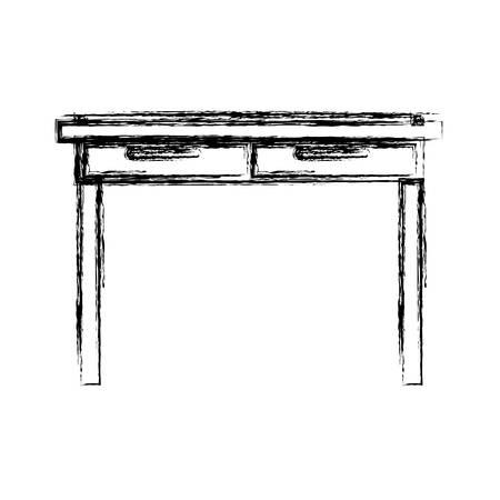 confortable: monochrome blurred silhouette of simple wooden home desk vector illustration