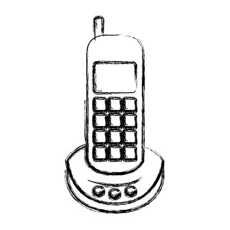 caller: monochrome blurred silhouette of cordless phone vector illustration