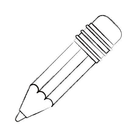 ballpen: sketch blurred silhouette image pencil with eraser vector illustration