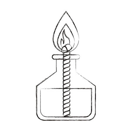 sketch blurred silhouette image laboratory lighter with rope and flame vector illustration