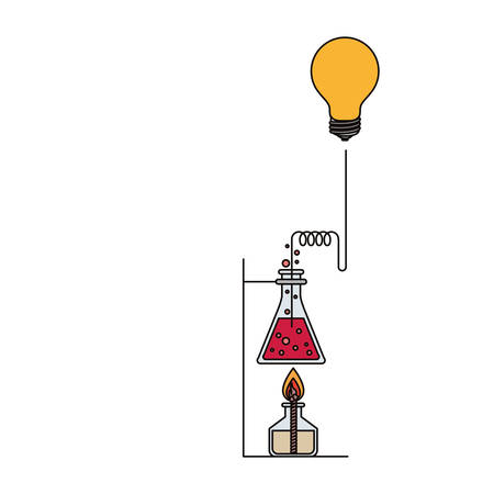 dropper: colorful image of glass beaker connected to light bulb and lighter vector illustration