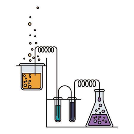 colorful image of scene chemical laboratory with an experiment in process vector illustration Illustration