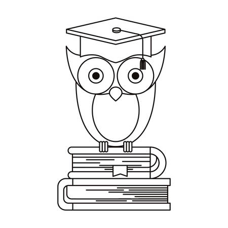 sketch silhouette of owl knowledge with cap graduation on stack of books vector illustration