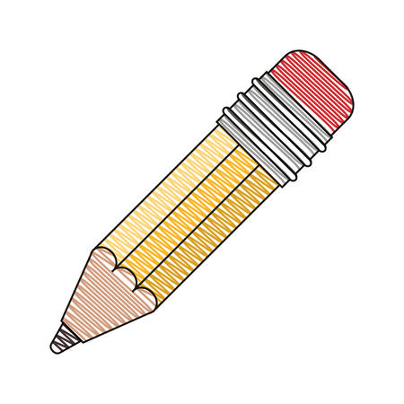color crayon stripe image of pencil with eraser vector illustration