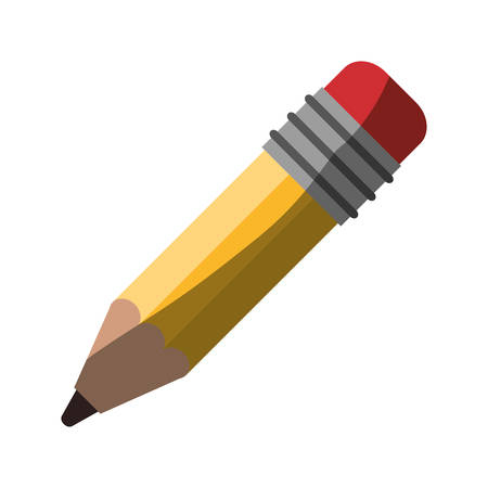 realistic colorful shading image of pencil with eraser vector illustration