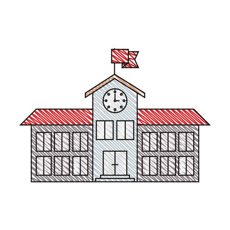 secondary colors: color crayon stripe image of high school structure with clock and flag vector illustration