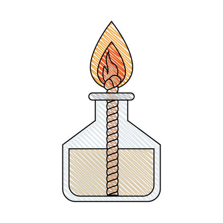 color crayon stripe image of laboratory lighter with rope and flame vector illustration
