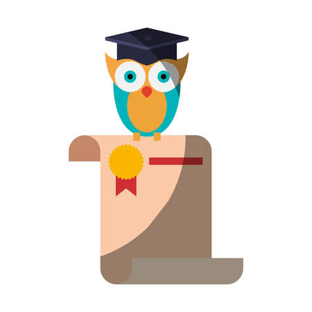 peak hat: realistic colorful shading image of owl knowledge in certificate vector illustration