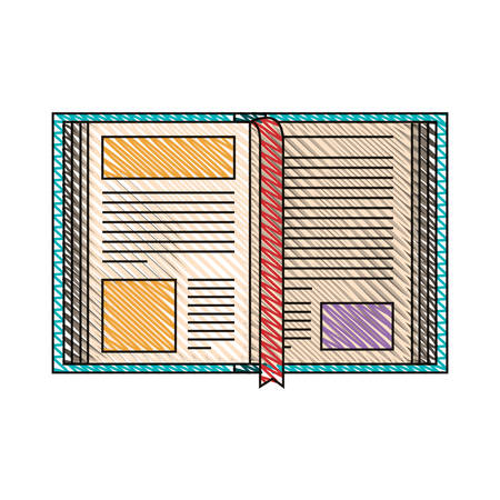 color crayon stripe image of open book with bookmark vector illustration