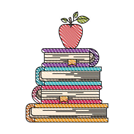 color crayon stripe image of stack of books with apple fruit vector illustration